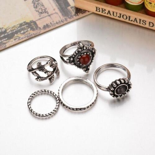Fashion bohème vintage femme argent or turquoise bagues Punk Ring Set