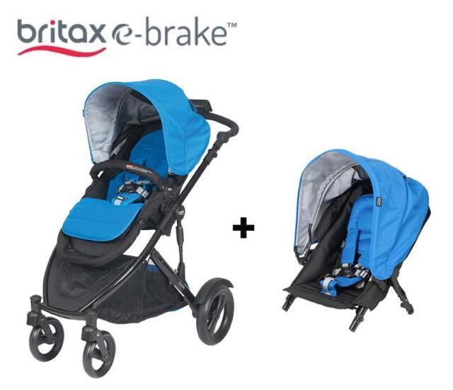 Britax E Brake 4 Wheels Stroller Plus Second Seat Cobalt Blue Aurora C1981