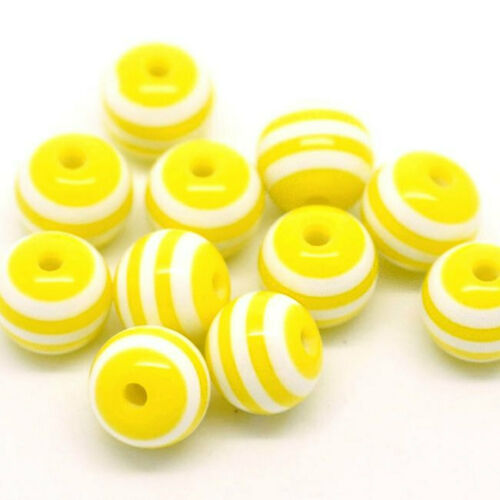 50 Striped 8mm Beads Fun and Colorful Resin BD331