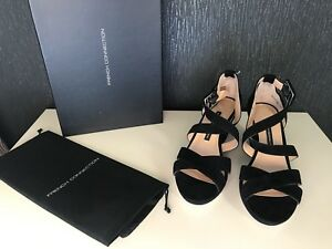 French-Connection-Ladies-Black-Leather-High-Heel-Wedge-Sandal-Shoe-Size-5-38