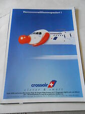Publicité 1999  Crossair Suisse Avion avec un nez de clown AD