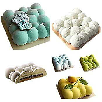 Brownie pan ice Cream Cookie Baking Mold Jelly Biscuit Mousse Chiffon Pastry Cakes 1 pcs 3D Bubbles Sky Cloud Silicone Cake Mold White Color Candy