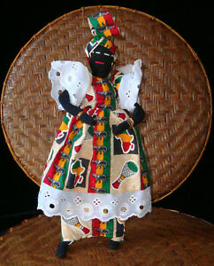 African Doll - Woman - Hand-Crafted Senegalese Doll Traditional Print Dress