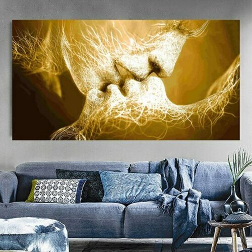 Black Love Kiss Canvas Painting Abstract Print Poster Decoration Wall Art