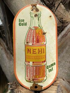 VINTAGE NEHI BEVERAGE PORCELAIN METAL SIGN GAS STATION SODA POP ADVERTISING COKE