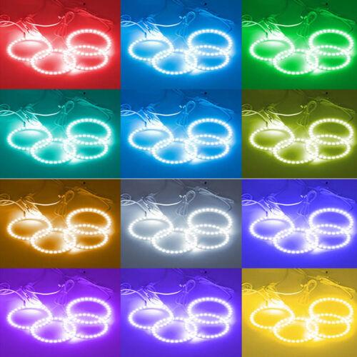 4X RGB 5050 DEL Angel Eyes Feu Phare Brouillard Drive Halo Anneaux Télécommande