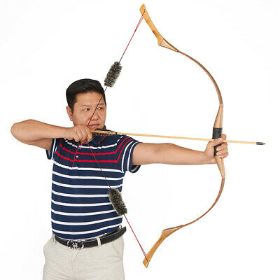 40-50LBS Brown Recurve Bow Hunting Bow Archery Wood Mongolia Tranditional Bow