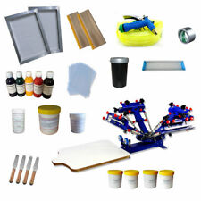 Top Grade 4 Color 1 Station Silk Screen Printing Kit Shirt Printer Ink Squeegee