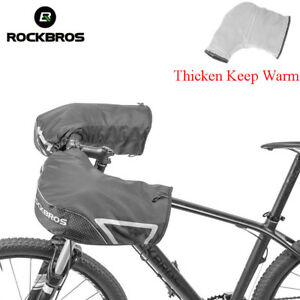 RockBros Winter Cycling Thickened Windproof Warm Gloves Handlebar Mittens Black