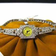 1.20 cttw DIAMONDS HAMILTON Platinum Vintage Wind Up Ladies Watch