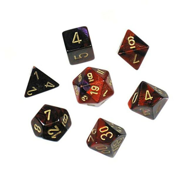 Chessex 26426CHX Gemini Polyhedral Purple-Red/Gold 7-Die