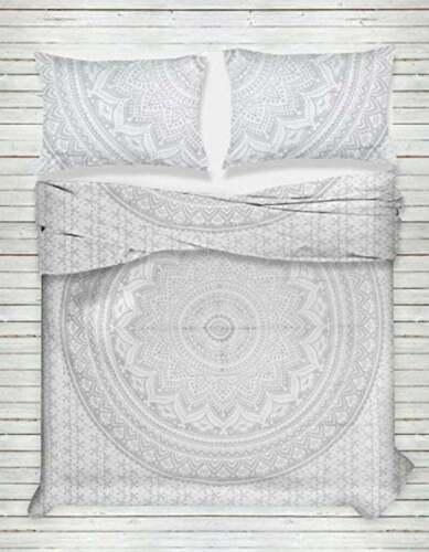 Silver Lotus Mandala Bedding Flat Bed Sheets Indian Double Size Bedspread Set