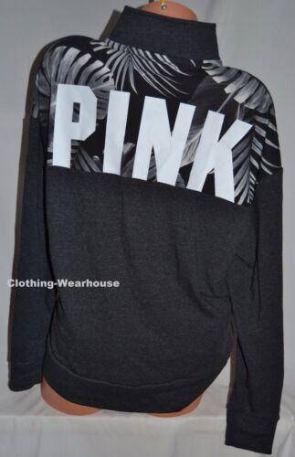Victoria/'s Secret PINK Gray Black White Palm Slouchy Quarter Zip Pullover M NEW