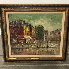 "P.G. Tiele Original Oil Painting Paris Scene With Gorgeous Frame 24"" X 20"""