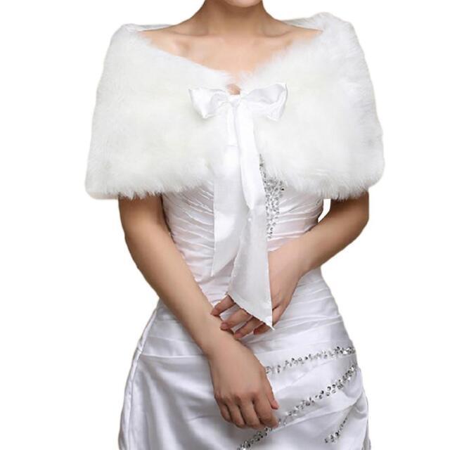 Boléro Echarpe Châle Fourrure Synthétique Pour Robe de Mariée/Soirée Mariage
