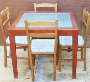 Tavolo Allungabile In Legno Con 4 Sedie.Tavolo In Legno Con Piano In Vetro Allungabile 4 Sedie Ebay