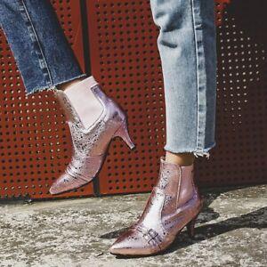e00a5191aec Women Chelsea Boots Kitten Heels Glitter Silver Pointy Toe Leather ...