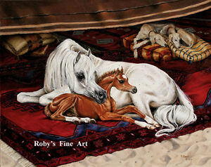 034-Bedouin-Breeze-034-Arabian-Mare-and-Foal-Horse-Art-Print-5-034-x-7-034-By-Roby-Baer-PSA