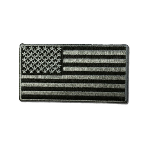 """Embroidered 3½/"""" American US Flag Black /& Grey Sew or Iron on Patch Biker Patch"""
