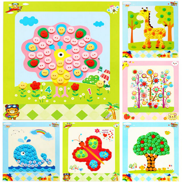 1 Pcs Diy Button Drawing Painting Interactive Material Kids