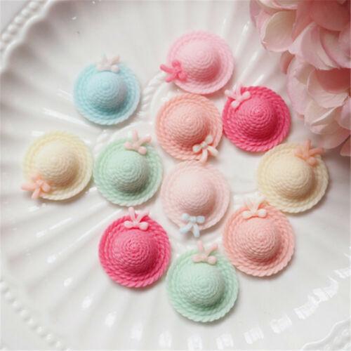 20 pcs Mixed Resin Cabochons Women/'s Hat Shaped Flatbacks Decorations 20mm
