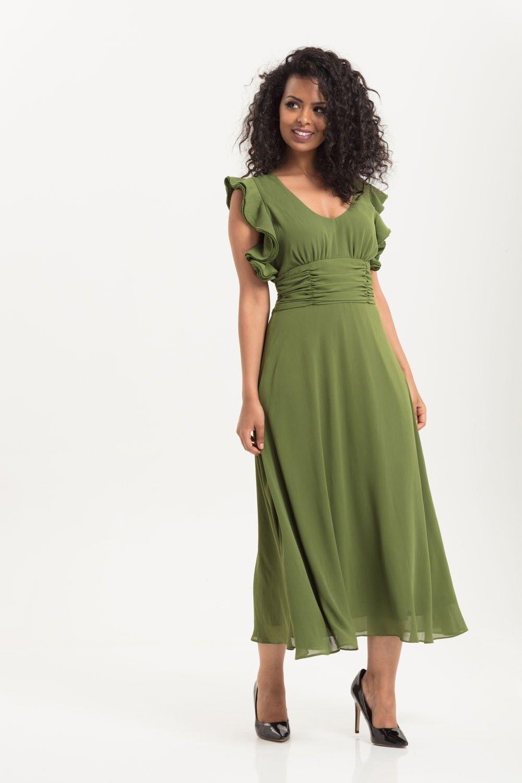 Voodoo Voodoo Voodoo Vixen Grün Amelia Olive Gown Vintage Dress DRA8578 Party Event UK8-16 eaba30