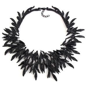 STRIKING Black FEATHER Foliage STATEMENT Necklace WROUGHT Iron GOTHIC Pagan