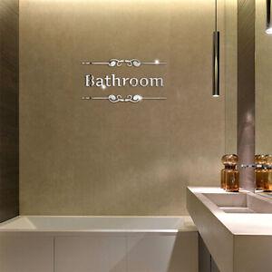Acrylic Mirror Wall Sticker Bathroom Toilet Alphabet Door Sign 3d Diy Home Decor Ebay