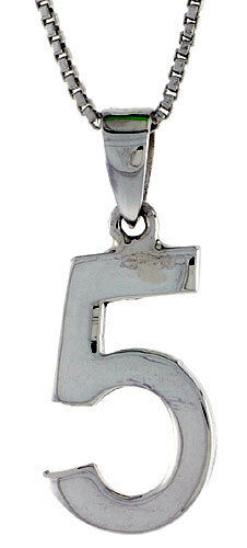 Sterling Silver Lucky Any one Number Pendant Charm from 0 to 15