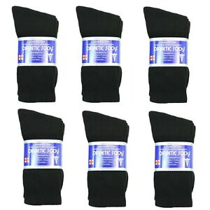 New-Diabetic-Crew-Socks-Circulatory-Health-Cotton-Loose-Fit-Top-6-Pairs