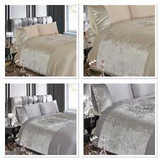 Rapport Luxury Crushed Velvet Silver Grey or Champagne Duvet Cover Bedding Set