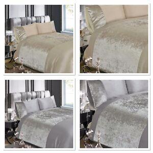 Rapport-Luxury-Crushed-Velvet-Silver-Grey-or-Champagne-Duvet-Cover-Bedding-Set