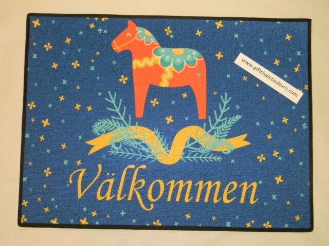 Scandinavian Swedish Dala Horse Valkommen Welcome Door Mat Rug #232-R24