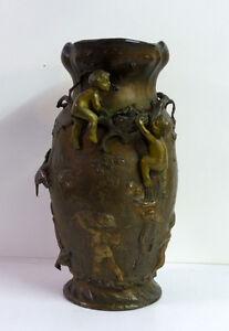 Jugendstil-Vase-Messing-Nestraeuber-Kinder-Skulptur-Signatur-Hoehe-35-0-cm