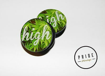 Dope High Weed Marijuana ear gauges-screw flesh plugs-ear plugs
