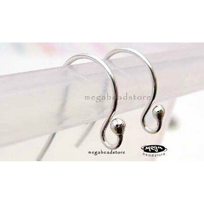 50 Sterling Silver 18mm 20 Gauge Fishhook Earwires with 2mm Ball