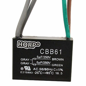 HQRP Capacitor de Motor para Hampton Bay 5uf+5uf+5uf 5-Alambres CBB61 Reemplazo