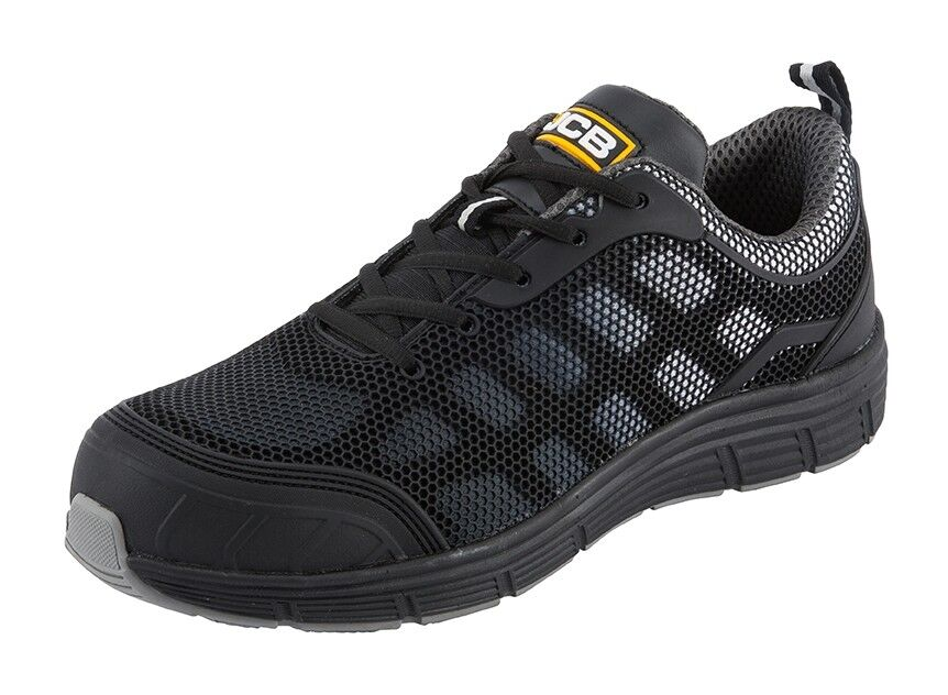 JCB Cagelow Safety Work Trainer shoes Black & Grey (Sizes 3-13) Men's