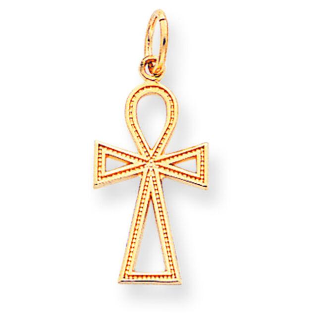 10k White Gold Egyptian Ankh Cross Charm Pendant