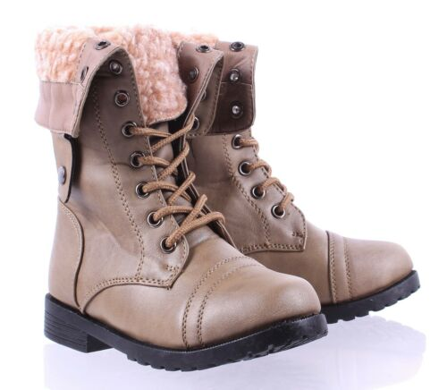 2-Way Faux Fur Fold Style Lace Up Military Combat Kids Youth Boots Size 9-4