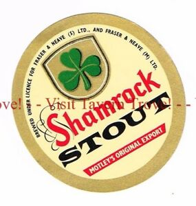 1960s-IRELAND-Motley-Fraser-amp-Neave-SHAMROCK-Stout-Beer-Label-Tavern-Trove