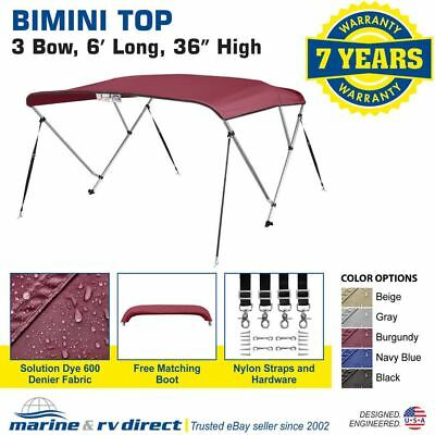 "Bimini Top Boat Cover 36/"" High 3 Bow 6/' ft 84/"" W GRAY L x 79/"""