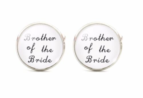 Brother Of The Bride Silver Plated Wedding Cufflinks Cuff links Round White 925