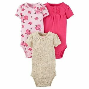 42a987ba3 New Carter's Just One You Girls 3 Pack Bodysuits Tops Rose Floral ...