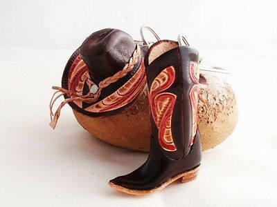 NEW 2 PCS BROWN GENUINE LEATHER MINIATURE COWBOY HAT & BOOT KEYCHAIN HANDCRAFTED