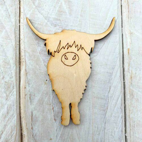 10 Pack Plywood Wooden Blank Craft Shape Highland Cow Front