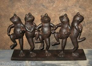 5 Dancing FROG Toad Statue*Door Stop*Primitive/French Country Farmhouse Decor