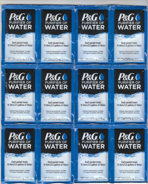 P/&G Purifier of Water Packets 4-Pack Purification Powder Packs Vacuum Sealed