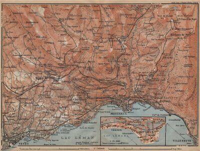 2019 Fashion Montreaux Area. Vevey Villneuve. Topo-map. Switzerland Suisse Schweiz 1907 Novel (In) Design;