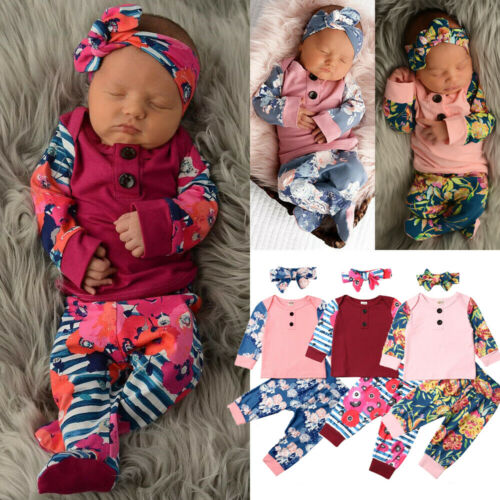 US Cute Newborn Baby Girl Clothes Floral Tops T-Shirt Long Pants Outfits 3PCS